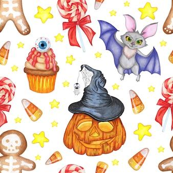 Illustrazione ad acquerello di un modello di halloween stampa ripetuta senza soluzione di continuità di biscotto pipistrello di zucca