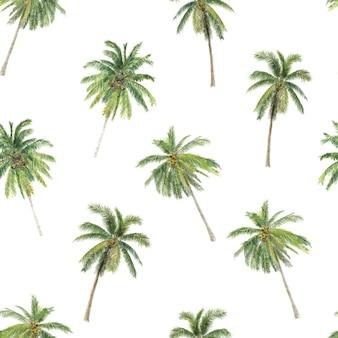 Illustrazione dell'acquerello del reticolo senza giunte di palme disegnate a mano con palme tropicali