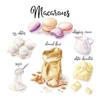 Illustrazione dell'acquerello della ricetta dei macarons. dessert francese