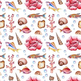 Illustrazione ad acquerello di un modello marino di pesci conchiglie coralli bolle ripetizione senza soluzione di continuità