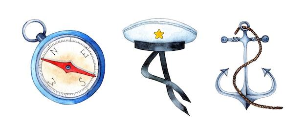 Illustrazione ad acquerello di un set nautico di bussola con cappuccio senza picco di ancoraggio forniture navali
