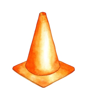Illustrazione ad acquerello di un cono arancione segnale stradale di avvertimento di pericolo attrezzatura sportiva