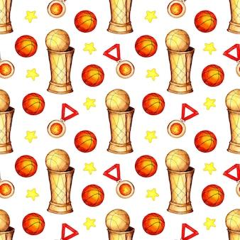 Modello di illustrazione ad acquerello della medaglia e delle stelle della coppa della palla da basket ripetizione sportiva senza soluzione di continuità