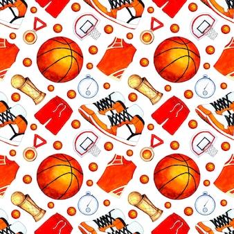Modello di illustrazione ad acquerello di palla da basket a forma di coppa medaglia e cesto sport senza soluzione di continuità r