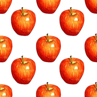 Illustrazione ad acquerello modello mela rossa stampa di frutta ripetuta senza soluzione di continuità frutta biologica cibo sano