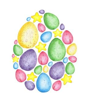 Illustrazione ad acquerello di un motivo a forma di uovo di pasqua riempito con piccoli elementi uovo