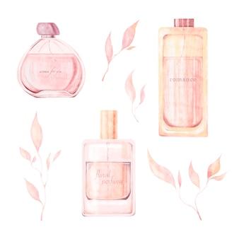 Illustrazione ad acquerello di bottiglie di profumo rami rosa con foglie isolate su sfondo bianco