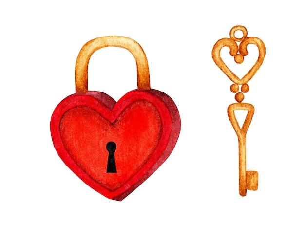 Illustrazione dell'acquerello di un lucchetto a forma di cuore rosso e una chiave d'oro