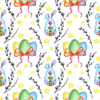 Illustrazione ad acquerello modello pasquale senza soluzione di continuità coniglietto blu uova dipinte fiocco webra rami