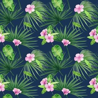 Modello senza cuciture illustrazione dell'acquerello di foglie tropicali e fiori di ibisco. perfetto come texture di sfondo, carta da imballaggio, design tessile o carta da parati. disegnato a mano.