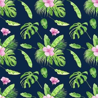 Modello senza cuciture illustrazione dell'acquerello di foglie tropicali e fiori di ibisco.
