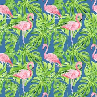 Modello senza cuciture di illustrazione dell'acquerello di foglie tropicali e fenicottero rosa.