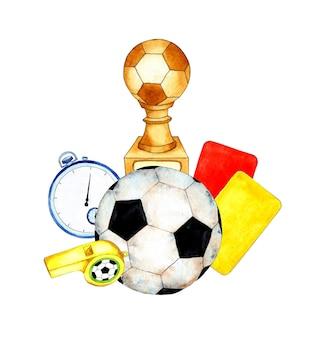 Illustrazione ad acquerello set di forniture per il calcio pallone da calcio coppa d'oro cronometro cartellini rossi gialli