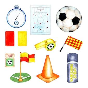 Insieme dell'illustrazione dell'acquerello dell'arbitro di calcio tactic board palla cronometro carte fischietto spray