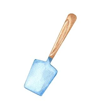 Spatola per pasta di silicone illustrazione ad acquerello con manico in legno utensili da cucina elemento isolato