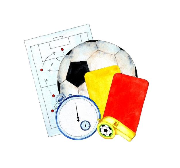 Illustrazione ad acquerello di attributi di calcio tactic board palla cronometro carte e fischietto