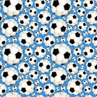 Illustrazione ad acquerello di un modello di pallone da calcio simbolo sportivo stampa ripetuta senza soluzione di continuità