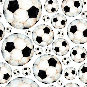 Illustrazione ad acquerello di un modello di pallone da calcio simbolo sportivo coppa del mondo di calcio oggetto sferico