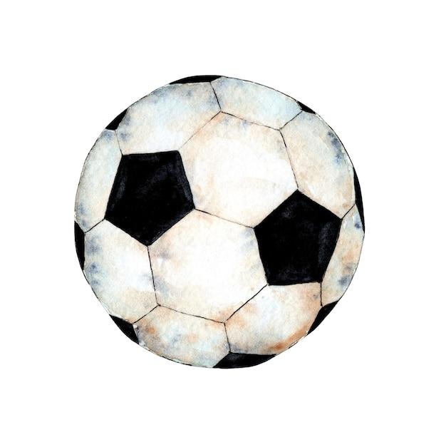 Illustrazione ad acquerello di un pallone da calcio simbolo sportivo coppa del mondo di calcio un oggetto sferico