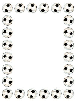Illustrazione ad acquerello di una cornice sportiva da calcio decorata con una palla cornice rettangolare
