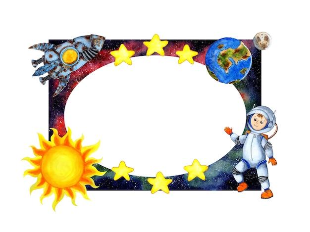 Cornice spaziale illustrazione acquerello con astronauta, razzo, sole, terra, luna, stelle. cornice per bambini isolato su sfondo bianco. disegnato a mano.