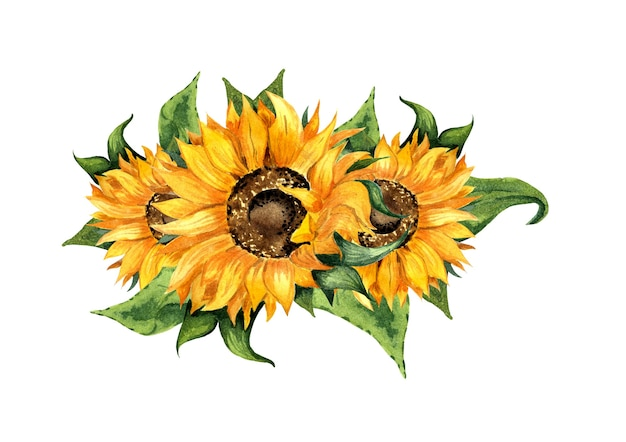 Illustrazione ad acquerello di una ghirlanda di fiori e foglie di girasole bellissimo mazzo di girasoli