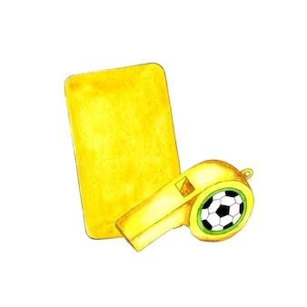 Illustrazione ad acquerello di cartellino giallo e fischietto per il design sportivo attrezzature sportive
