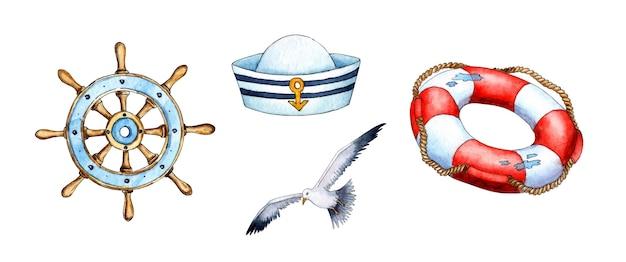 Set di illustrazioni ad acquerello del volante, gabbiano, berretto senza picco, salvagente, supporto navale