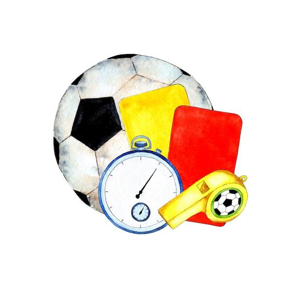 Illustrazioni ad acquerello di carte arbitro fischietto pallone da calcio e cronometro accessori sportivi