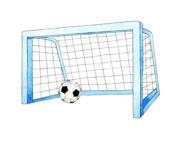 Illustrazioni ad acquerello di porta e palla da calcio rete per bilanciere per attrezzature sportive