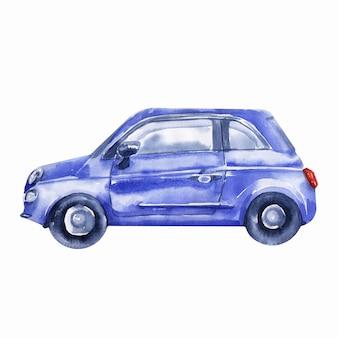 Immagini ad acquerello sul tema del viaggio in auto. automobili, segnali stradali, macchina fotografica, semafori