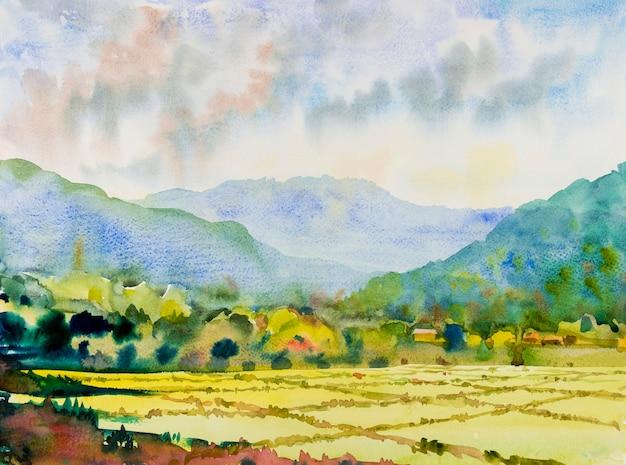 Pittura originale di paesaggio dell'acquerello su carta colorata di cottage del villaggio e campo di riso in montagna con il cielo