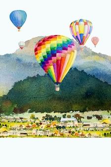 Pittura di paesaggio ad acquerello colorato di mongolfiera sulla vista dall'alto della montagna del villaggio
