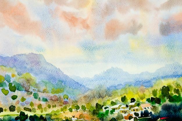 Pittura di paesaggio dell'acquerello colorato di montagna