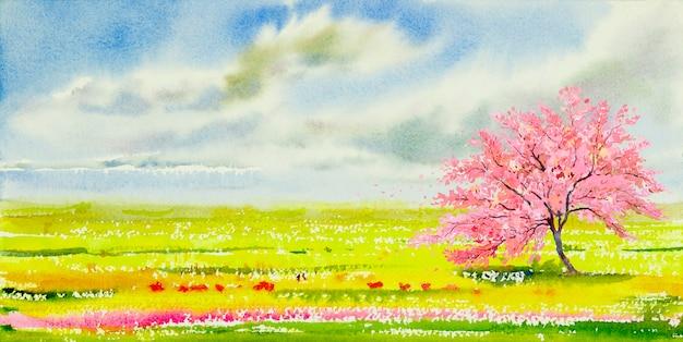 Pittura di paesaggio dell'acquerello del panorama della fioritura dei ciliegi