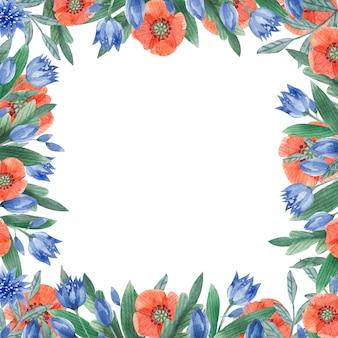 Cornice romantica con foglie e fiori ad acquerello cornice quadrata vintage di fiordaliso con erbe e foglie