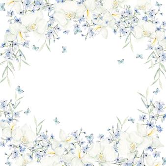 Cornice di fiori azzurro acquerello su sfondo bianco