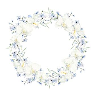 Cornice rotonda fiori azzurro acquerello su sfondo bianco