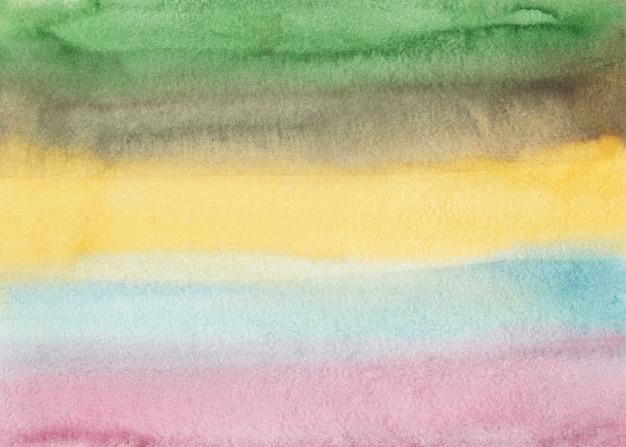 Sfondo a strisce colorate chiaro dell'acquerello. marrone pastello, giallo, rosa, blu, verde.