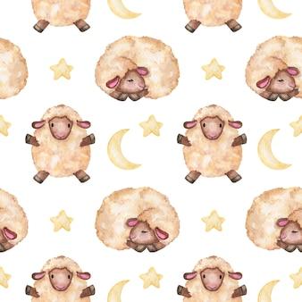 Acquerello agnellini con la luna e le stelle senza cuciture