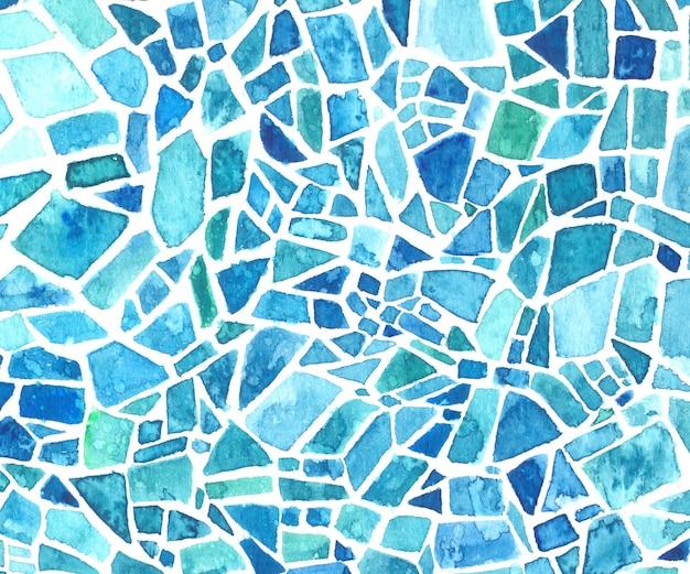 Struttura del mosaico dell'acquerello. fondo blu del caleidoscopio. motivo geometrico dipinto.