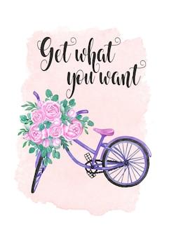 Scheda motivante dell'acquerello, bici dell'acquerello con illustrazione di peonie fiori, scheda digitale
