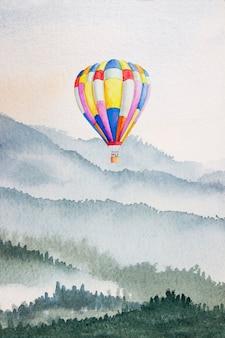 Priorità bassa della montagna dell'acquerello disegnata a pennello. mongolfiera di vernici colorate su carta da parati texture carta per design, stampa, copertina del libro, sfondo, sfondo acquerello luminoso. illustrazione astratta