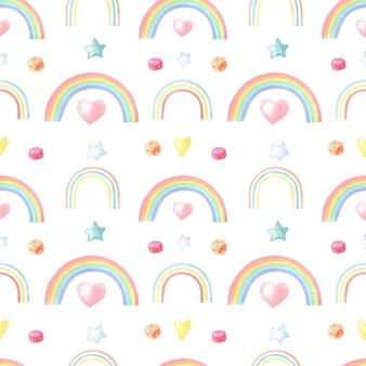 Arcobaleno multicolore dell'acquerello su bianco