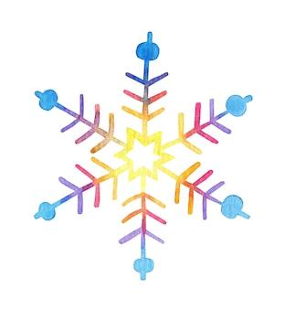 Il fiocco di neve multicolore dell'acquerello brilla nell'illustrazione chiara