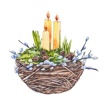 Nido dell'acquerello con candele di pasqua e rami di salice. mano disegnare illustrazioni ad acquerello su sfondo bianco. collezione di pasqua.