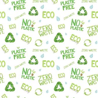 Acquerello senza plastica, motivo di citazioni ecologiche su sfondo bianco