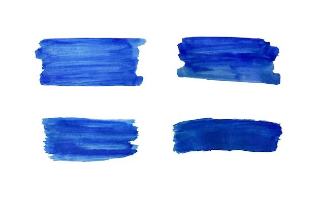 Set di tratti di disegno blu pittura ad acquerello isolato su sfondo bianco