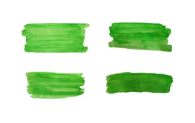 Set di tratti di disegno verde vernice ad acquerello isolato su sfondo bianco