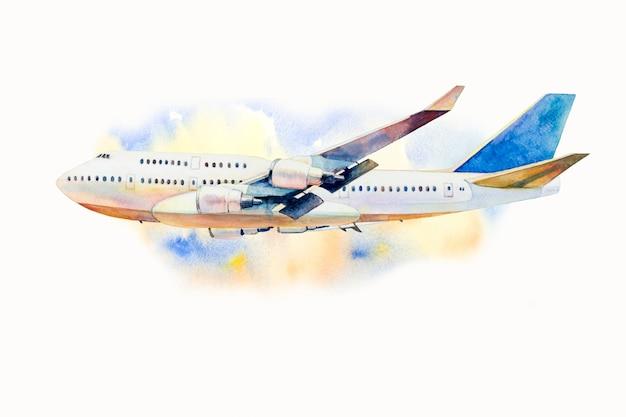 Pittura ad acquerello di aeroplano sul cielo